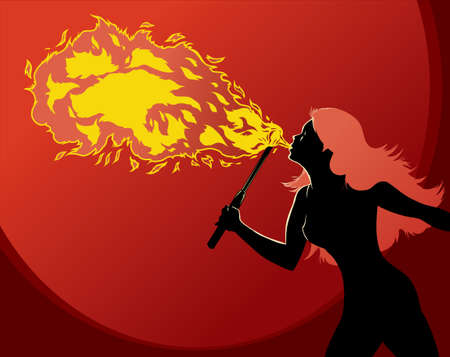 fire show: Fire Breather Illustration
