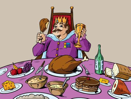 王のように食べる  イラスト・ベクター素材