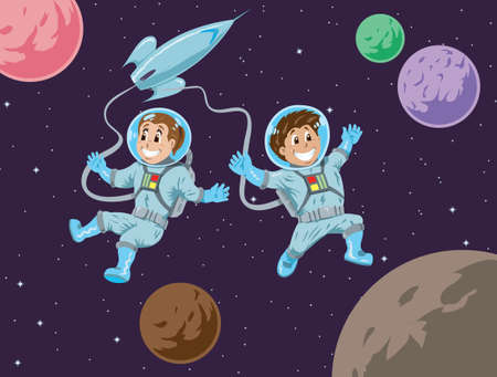 Kids in space  Vector