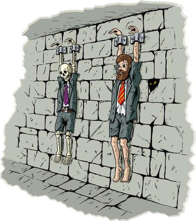 Sad bedrijf gevangene Stock Illustratie