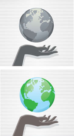 hands holding earth: Hand and globe