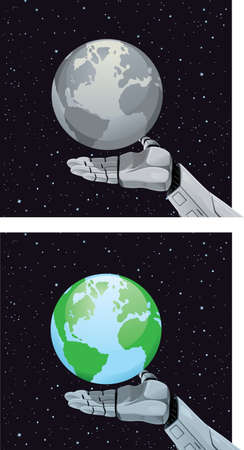 earth from space: Robot hand holding planet