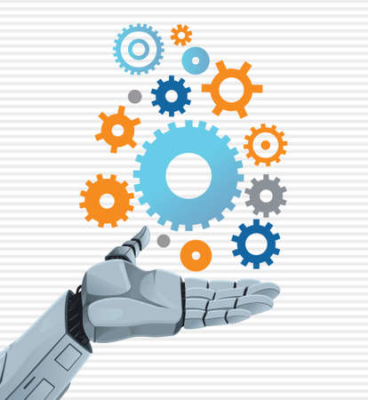 Robot hand holding gears Vector