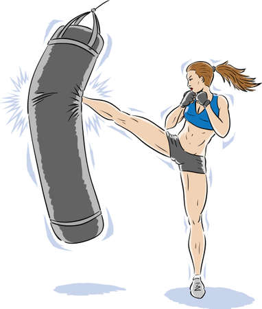 Kickboxer	girl	 Stock Illustratie