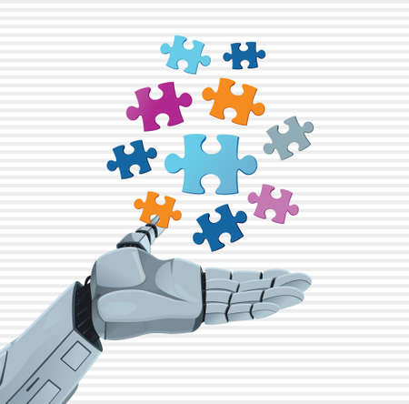 technological evolution: Robot hand and puzzle