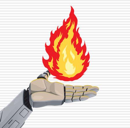 Robot Fire Hand Stock Vector - 18942435