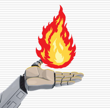 dangerous work: Robot Fire Hand Illustration