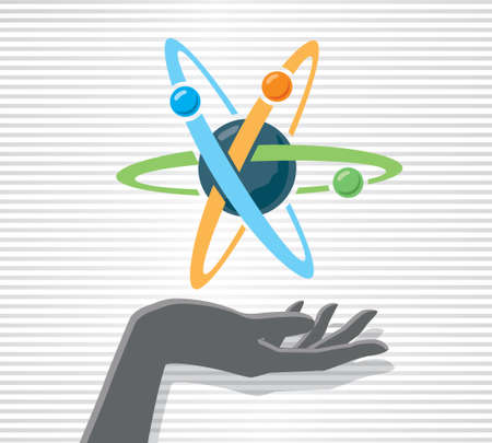 weld: Hand and Atom Illustration