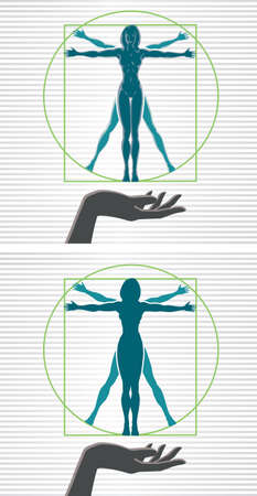 strong: Vitruvian woman Illustration