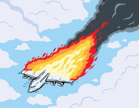 sabotage: Burning airplane  Illustration