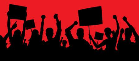 manifestacion: Manifestantes furiosos Vectores