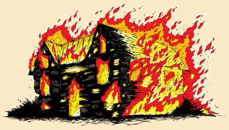 incendio casa: Casa en llamas