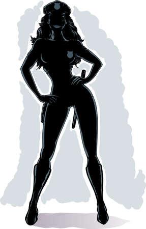 Outline of a sexy cop Banco de Imagens - 20163708