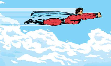 nubes caricatura: Superhero volando en las nubes