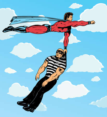 burglar man: Superhero capturing villain.