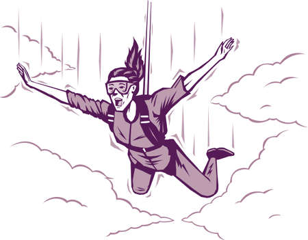 parachuting: Parachuting girl