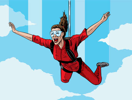 Happy parachuting girl  Vector