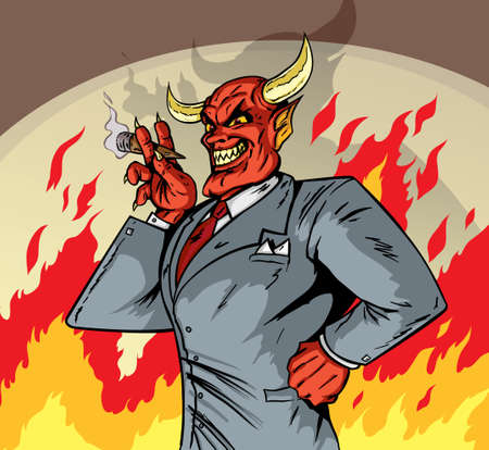 devil cartoon: Deviled Businessman Illustration