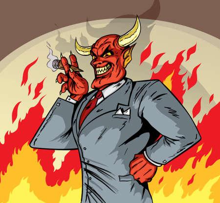 brandweer cartoon: Deviled Zakenman Stock Illustratie