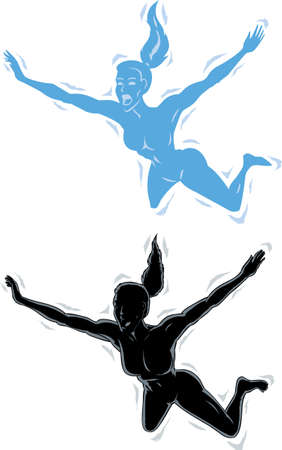 taking the plunge: Falling outline girl Stock Photo