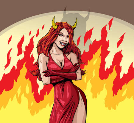 悪魔の少女 写真素材