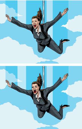 stockbroker: Happy scared businessmwoman