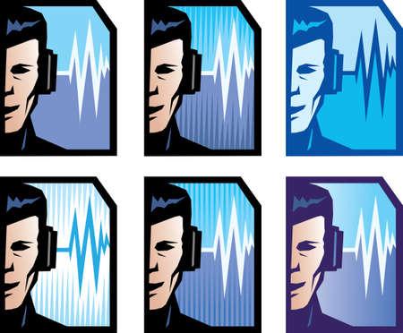 DJ man Face Stock Vector - 20629055