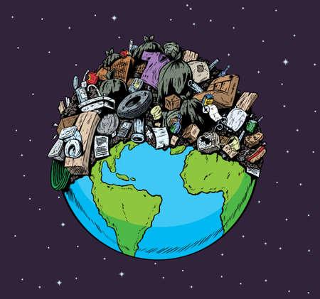 contaminacion del medio ambiente: Planeta contaminado Vectores