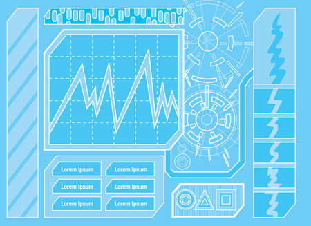 panel de control: Panel de control futurista Uno Vectores