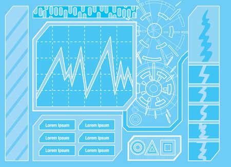 control panel: Pannello di controllo futuristico One Vettoriali