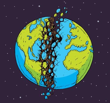 ひびの入った惑星  イラスト・ベクター素材