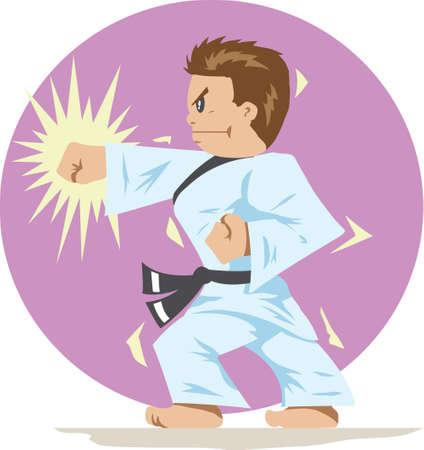 reverse: Karate boy Illustration