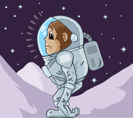 environmental suit: Monkey Astronaut Illustration