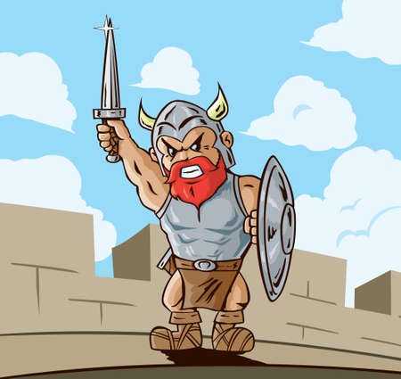 angry sky: Victorious Viking Illustration