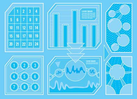Futuristische Configuratiescherm Vijf Stock Illustratie