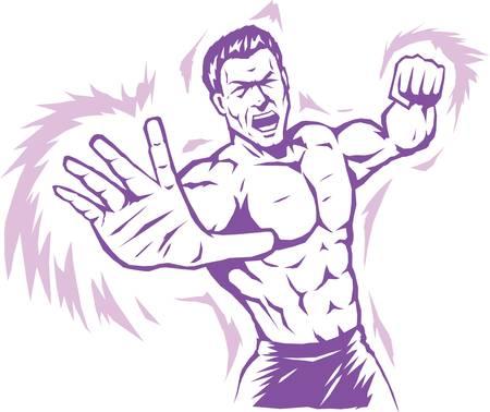 wrestler: Intense stylized puncher