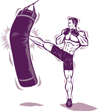 thai arts: Kickboxer Man   Illustration
