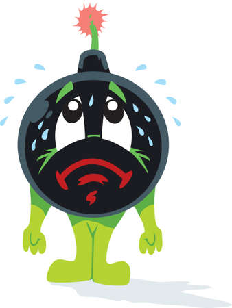 cannon ball: Worried Bomb Illustration