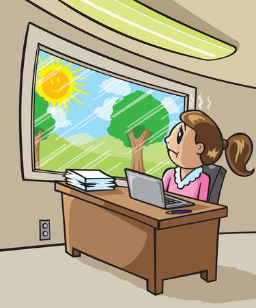 looking at computer: Sad Worker girl  Illustration