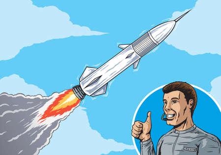 rocket launch: Rocket in sky