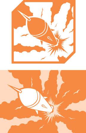 アイコンのロケット打ち上げ