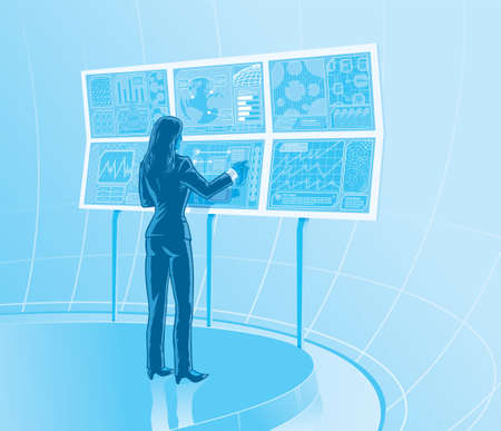 control room: Future business woman  Illustration