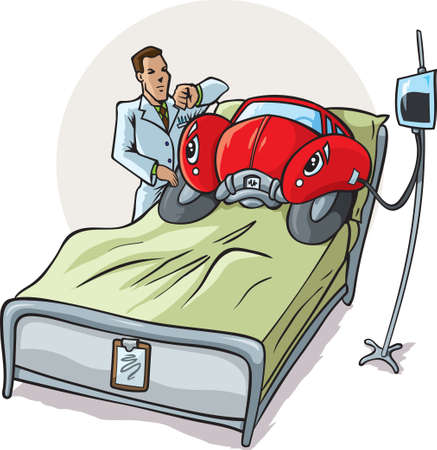 hospitals: Sick Car Illustration