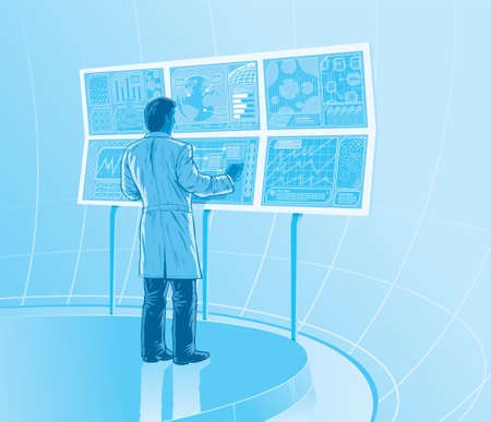 panel: Futuristic laboratory Illustration