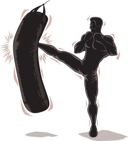 Male Kickboxer Outline Vettoriali