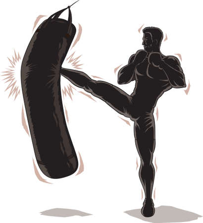 Male Kickboxer Outline	 Stock Illustratie