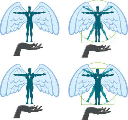 Angel Vitruvian man Illustration