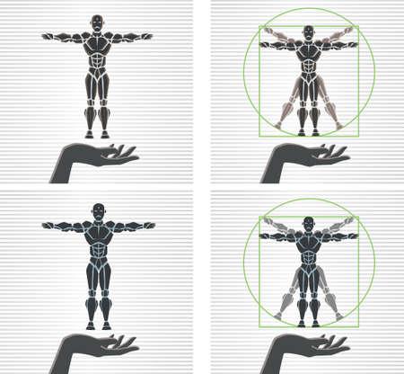 uomo vitruviano: Uomo vitruviano Robot Vettoriali
