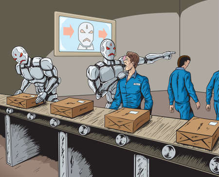 factory workers: Robot Replacement Illustration