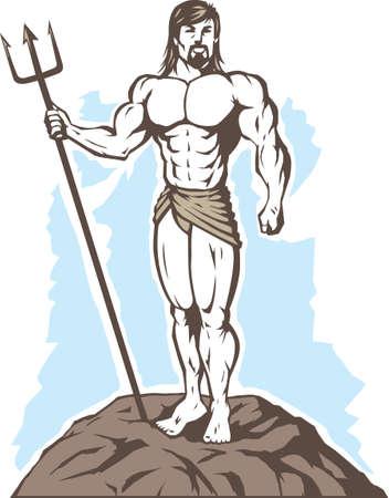 様式化された王ネプチューン